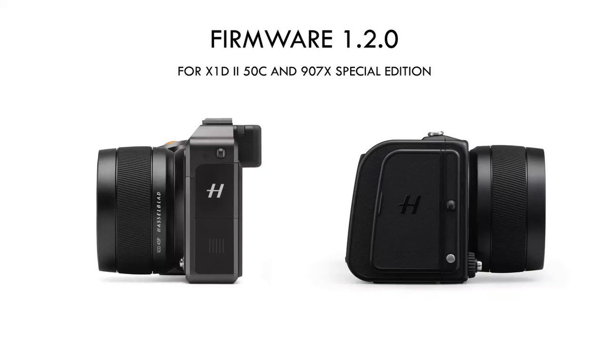 Image for the Tweet beginning: Firmware 1.2.0 for #HasselbladX1DII 50C