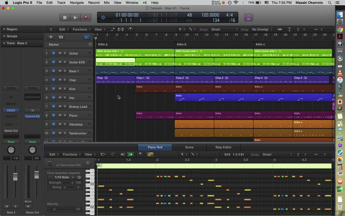 """""""Catwalk"""" in progress. This one is based on a guitar riff I recorded years ago.  #technomusic #electronicmusic #logicpro pic.twitter.com/e3UYBpFUaP"""