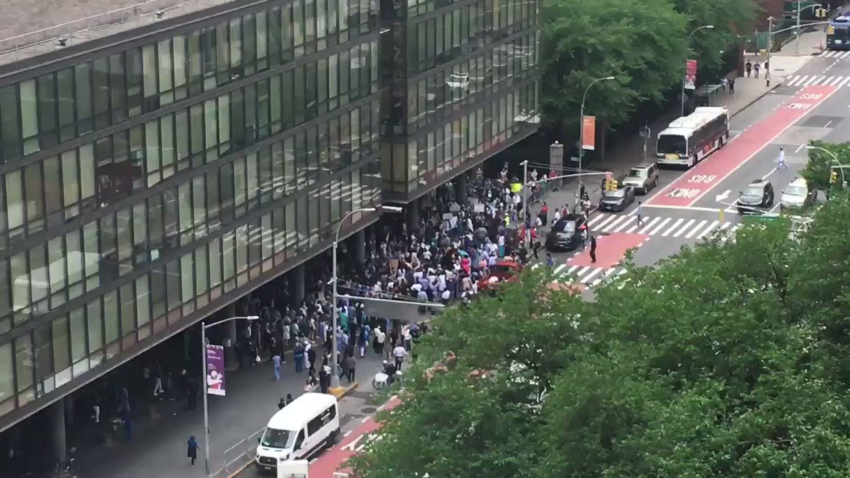 Health care workers rally for #BlackLivesMatter outside Bellevue Hospital in Manhattan #OneNewYork