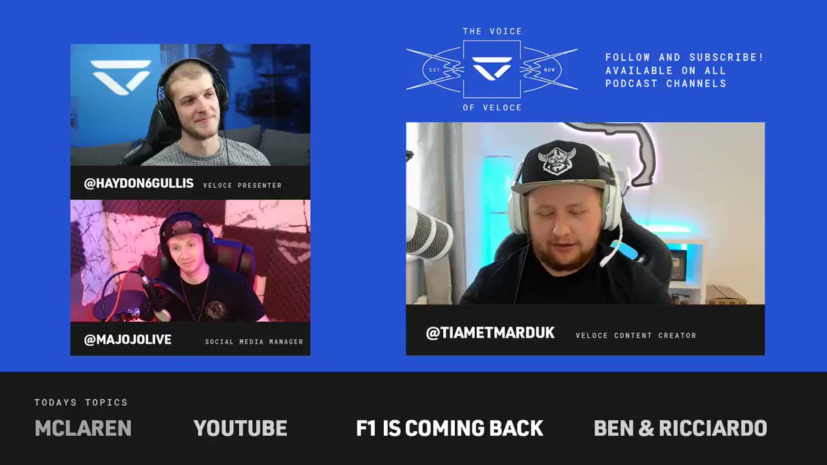 In this weeks episode of The Voice of Veloce we hosted @Tiametmarduk and discussed: 🏎️ @McLarenF1 Esports. 🎥 Bens YouTube career so far. 🏁 The return of @F1. 🚚 @danielricciardo moving to Mclaren. ... and much more. Full episode here: youtube.com/watch?v=uGwBfM…