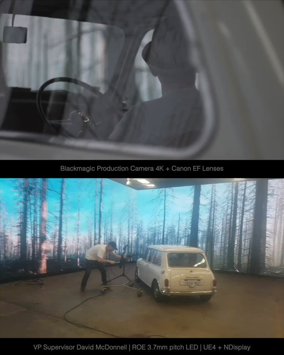 ハリウッドで使われ始めた「巨大ディスプレイ撮影」高精細な超巨大ディスプレイを背景にして撮る。屋外ロケやセット建築が不要になる。またグリーンバック合成に比べて後処理や映り込み対策も減る