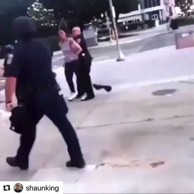 ‼️ If you know names of the cops DM @shaunking —> 🤬🤬🤬 This is the Indianapolis Police. ⁣ ⁣ Watch, as the officer gropes the breast of the protestor, she THEN, understandably pulls away.⁣ ⁣ Police then beat her and unload their weapons on her. ⁣ ⁣