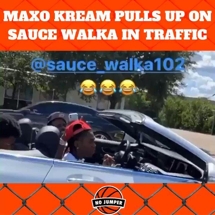 👀@MAXOKREAM pulls up on @Sauce_Walka102 in traffic.