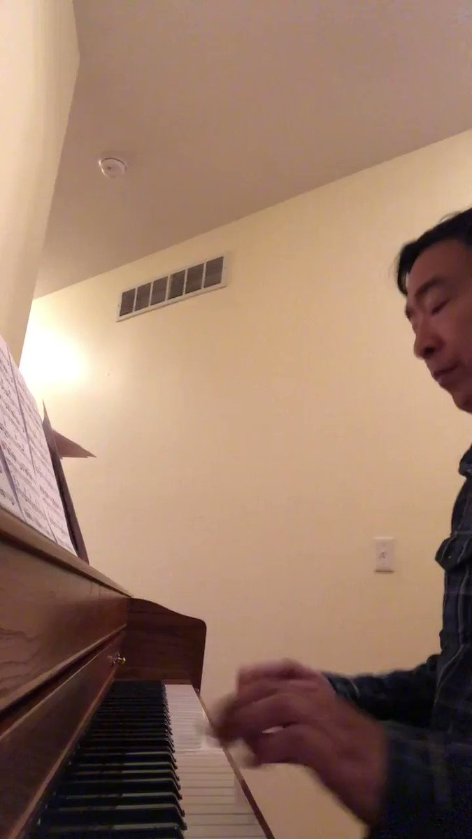 "Yang playing ""Return of the Mack"" on the piano? Cryptic much @AndrewYang?"