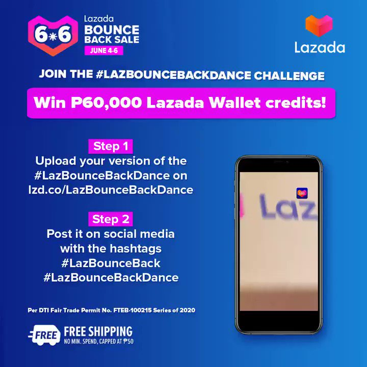 Get the chance to win ₱60,000 Lazada Wallet credits! 😱 Magpasikat na and join the #LazBounceBackDance Challenge! #LazBounceBack together at the Lazada 6.6 Bounce Back Sale. Check out now! #LazadaPH66 Per DTI Fair Trade Permit No. FTEB-100215 Series of 2020