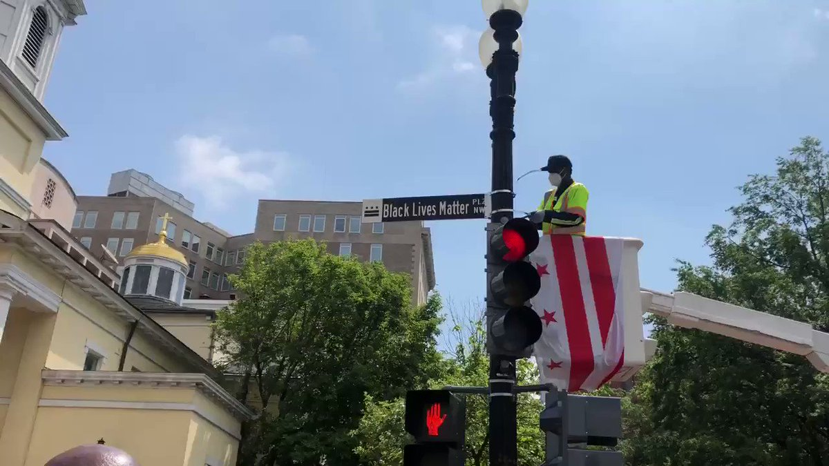 """Mayor Bowser has renamed 16th Street NW just in front of the White House """"Black Lives Matter Plz."""" Here's video of the sign going up."""