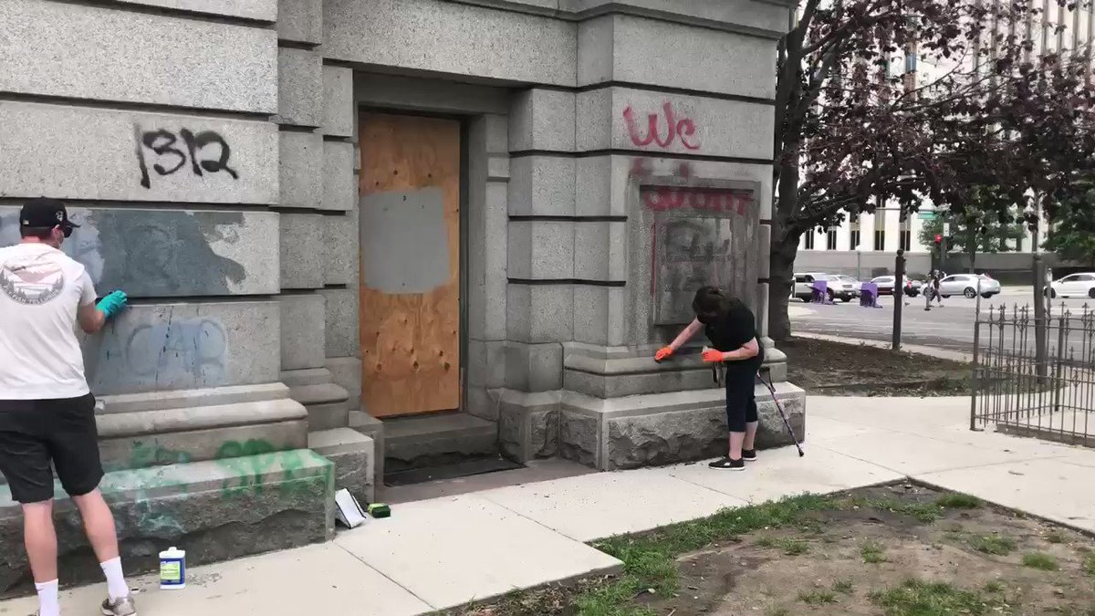 Image for the Tweet beginning: We're in Denver scrubbing graffiti