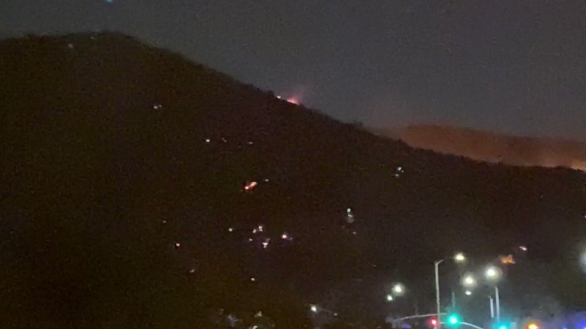 .@LAFD hitting this Fire hard in #belair - near where #2017 fire burned. A few hotspots on the hillside lit up