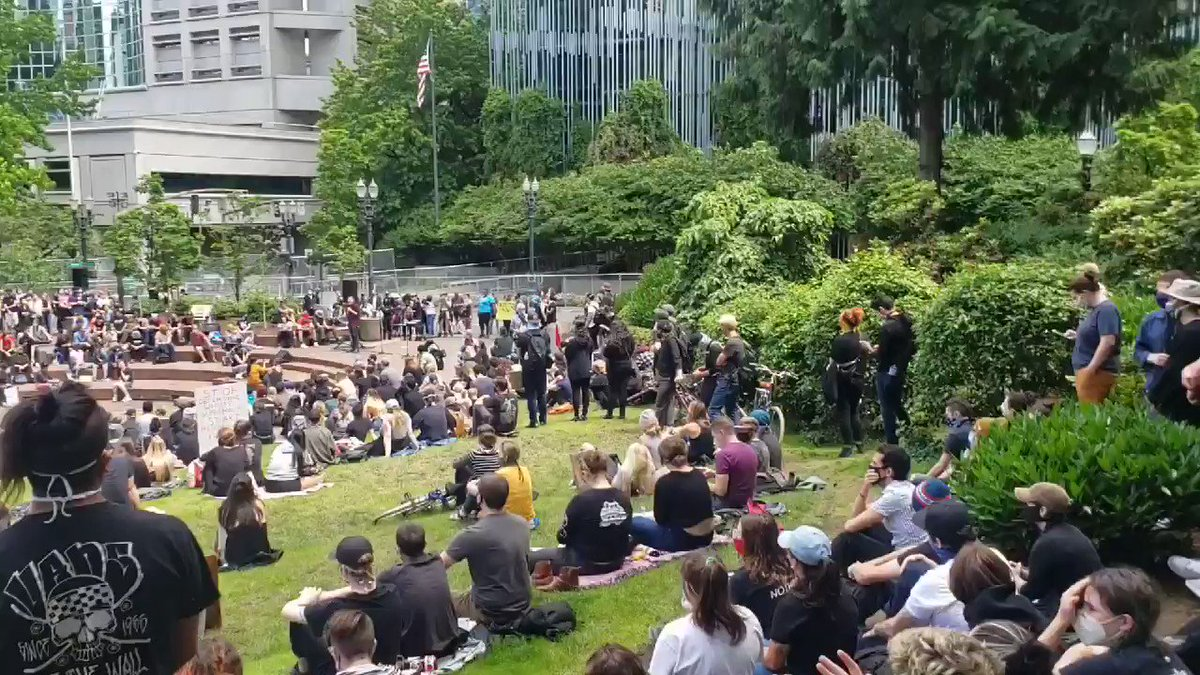 Rally by @carenotcops Talking about defunding Portland Police