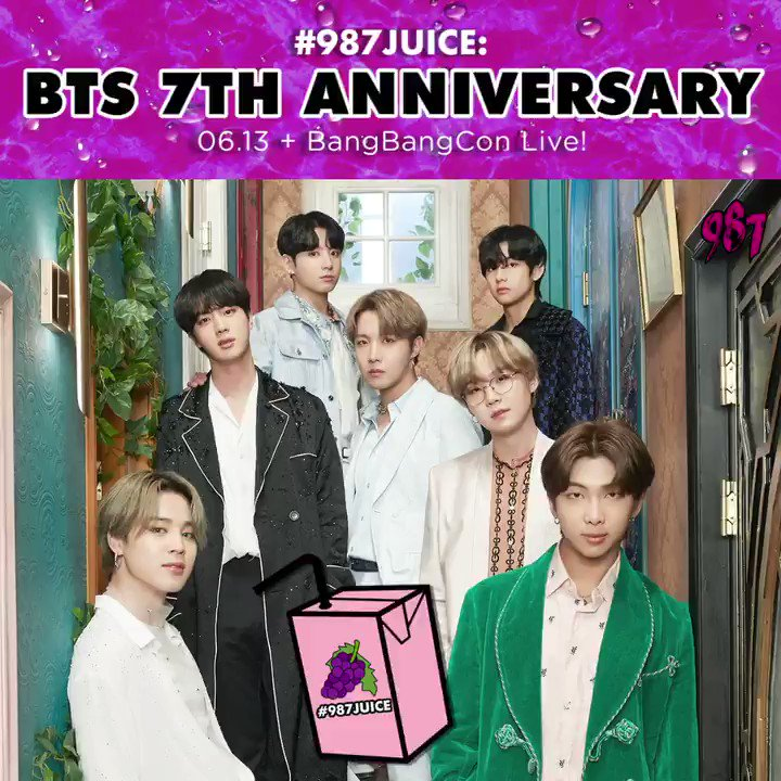 Just a few more hours left till #BTS7thAnniversary - army are you ready? Were looking forward to #BANGBANGCON_TheLive this Sunday as well! What are you doing to celebrate @BTS_twts 7th Anniversary? #987JUICE