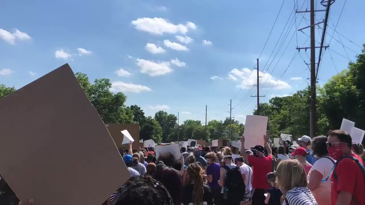 Hundreds are marching from Parkway West High School to West Middle School. #BlackLivesMatter
