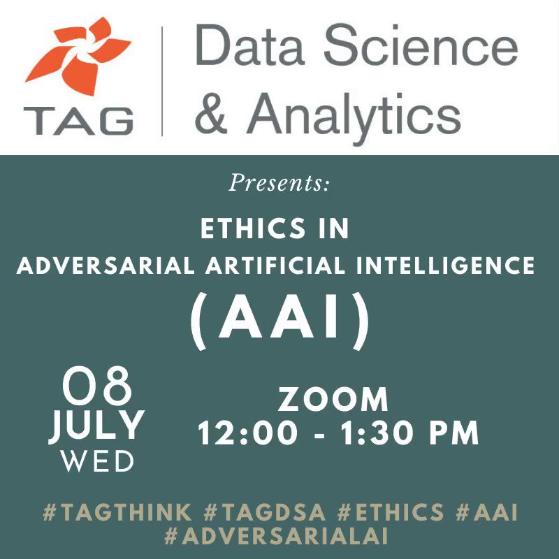 Image for the Tweet beginning: Register Today!   @TAGthink @TAG_DSAnalytics presents,  Ethics