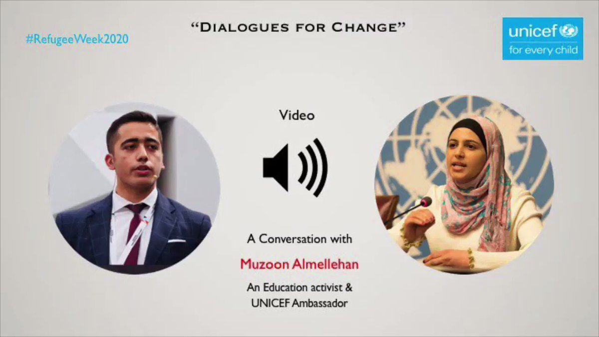 On this #RefugeeWeek2020 I'd like to share my conversation with an inspiring refugee & activist @muzoonrakan1 about: - The plight of refugees 👨👩👧👦 - Muzoon's journey from refugee camps to activism⭐️ - The importance of provision of education📚 Full vid 👇 facebook.com/15081085828374…