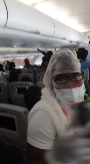 A group of Ghanaian women on a repatriation flight back home from Lebanon. Pure Joy.