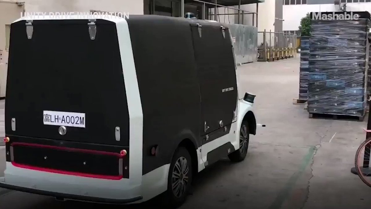Image for the Tweet beginning: Self-driving vans are delivering food