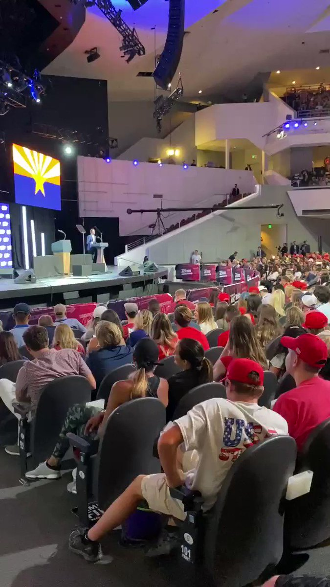 On the WORST day of the pandemic in #Arizona with 58,179 cases and single-day records of ⚠️3,593 new cases and ⚠️42 new deaths, these unmasked #Trump supporters at Dream City Church, Phoenix Arizona are breathing #COVID in and out.