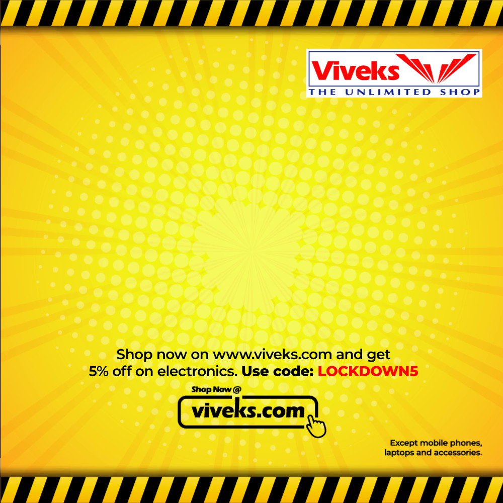 Unable to purchase electronics due to the lockdown? It's all just one click away on http://viveks.com Use code: LOCKDOWN5 at checkout & get 5% off on your electronics & home appliances purchase.   #NammaViveks #Homeappliances  #Electronicspic.twitter.com/T0jgOV1hW0
