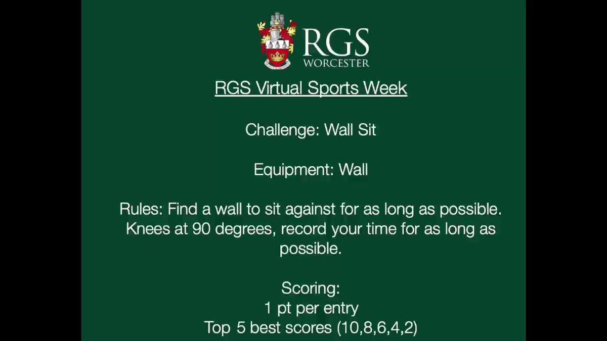 Image for the Tweet beginning: Wall Sit Challenge @RGSWorcester