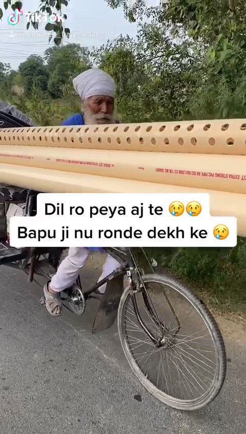 Heartbreaking video   Bapu ji in his elderly age is struggling to deliver parts on his bicycle so he can provide for his family. The daily struggles of our Panjab family is clear to see and our elderly shouldn't have to suffer just to live.   Stand For Our Panjab 🙏🏽  Vaheguru https://t.co/Butsfl3I6T