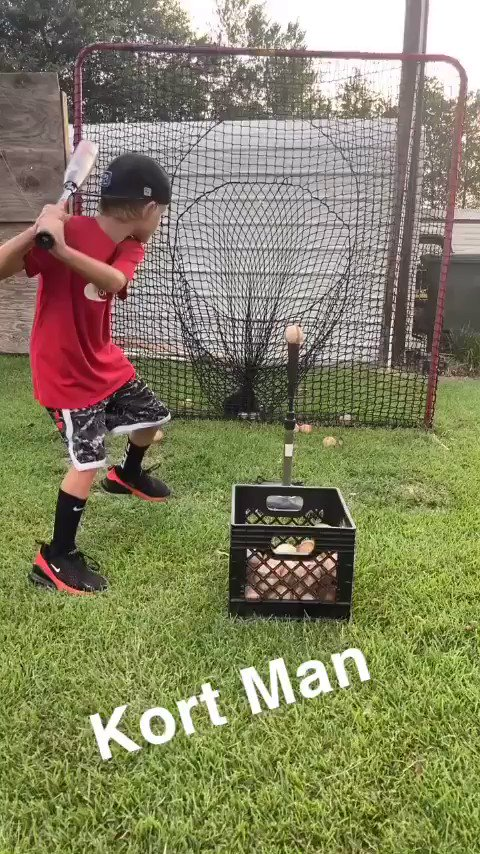 """Kort Pirkle just turned 7 in May getting some Tee work in and says he's ready to """"launch nukes"""" @FlatgroundBats @BaseballBros @RealCJ10 @"""