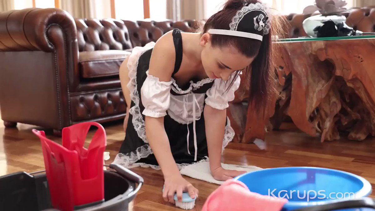 Karups update - French maid Kate Rich @Kat_Rich69 does her job with no panties to tease her boss. It worked. Soon her hair is pulled and pussy fucked. 👉Watch it now at Karups.com