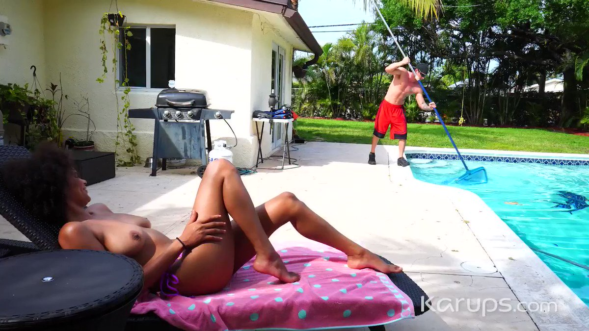 Karups update - Ebony babe Alina Ali @TheAlinaAliXXX has her eye and pussy on the hot pool boy, and she is going to get her wish as she gets fucked hard outdoors. 👉Watch it now at Karups.com