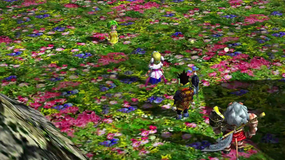Image for the Tweet beginning: 不思議な花園に迷い込んだ主人公一行は、不思議な少女に出会う。…エレナに潜むミレーニアの存在に気付いている様子。  #グランディアII #グランディア2 #NintendoSwitch