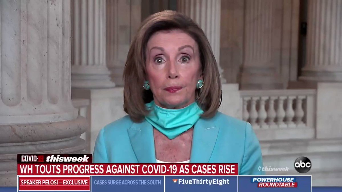 Speaker Pelosi just called for a national mandate to wear masks. Good.