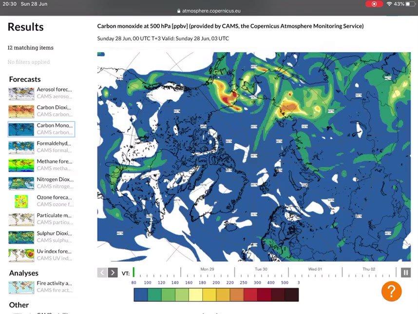How far can #ArcticFires smoke go? High carbon monoxide concentration (>200ppb in orange/red) at ~5km altitude recirculating over Chukchi Sea & towards W Canada/NW USA in latest @CopernicusECMWF Atmosphere Monitoring Service @ECMWF forecast atmosphere.copernicus.eu/charts/cams/ca… @CopernicusEU