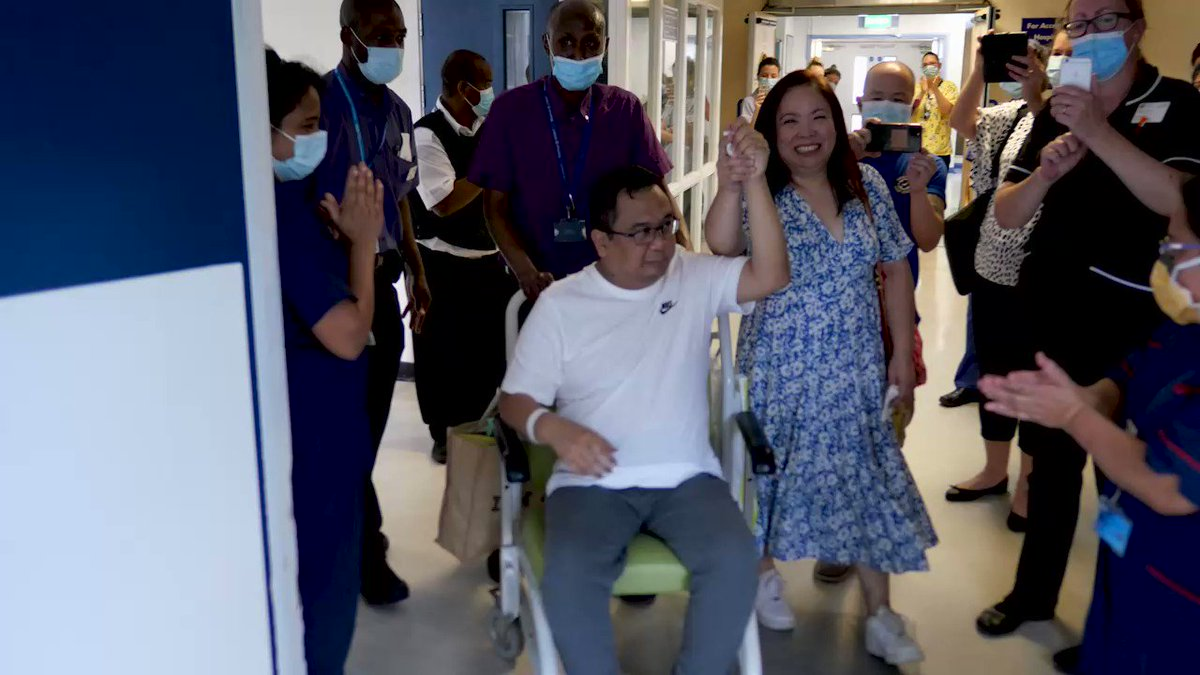 An emotional, jubilant send-off for #teamLNWH A&E nurse Franco Palo leaving hospital after battling #Covid19 #coronavirus for 9+ weeks. Franco left hospital with wife Grace (also an A&E nurse at Northwick Park) to the cheers of 100s of colleagues wishing him a speedy recovery.