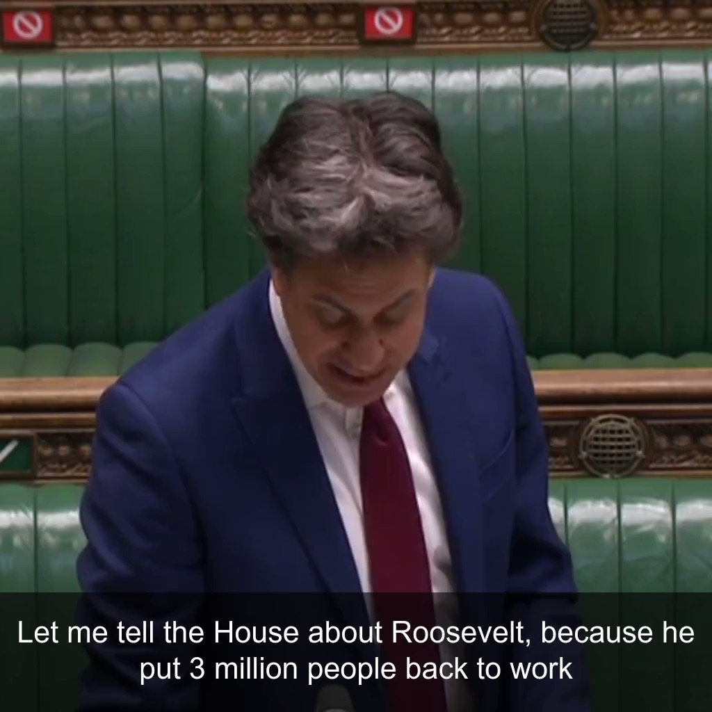 If we want to emulate Franklin Roosevelt we need a zero carbon army to get people back into work as part of a Green New Deal. My speech in Parliament earlier: