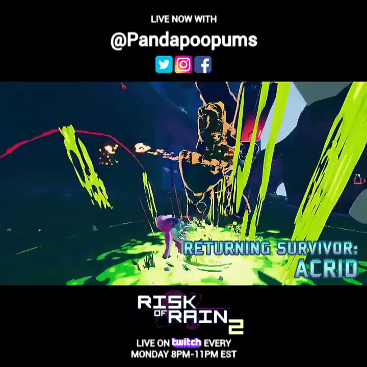 We are #live on #twitch with @Pandapoopums playing @riskofrain2 come and watch!   https://t.co/XSIwRjbrB7  #riskofrain #roguelike #gamingart #gaming #codevein #thegameawards #gamingculture #paladinsart #killingfloor2 #evilmojo #indie #indiegame #indiedev #indiegaming https://t.co/091xoGSEj1