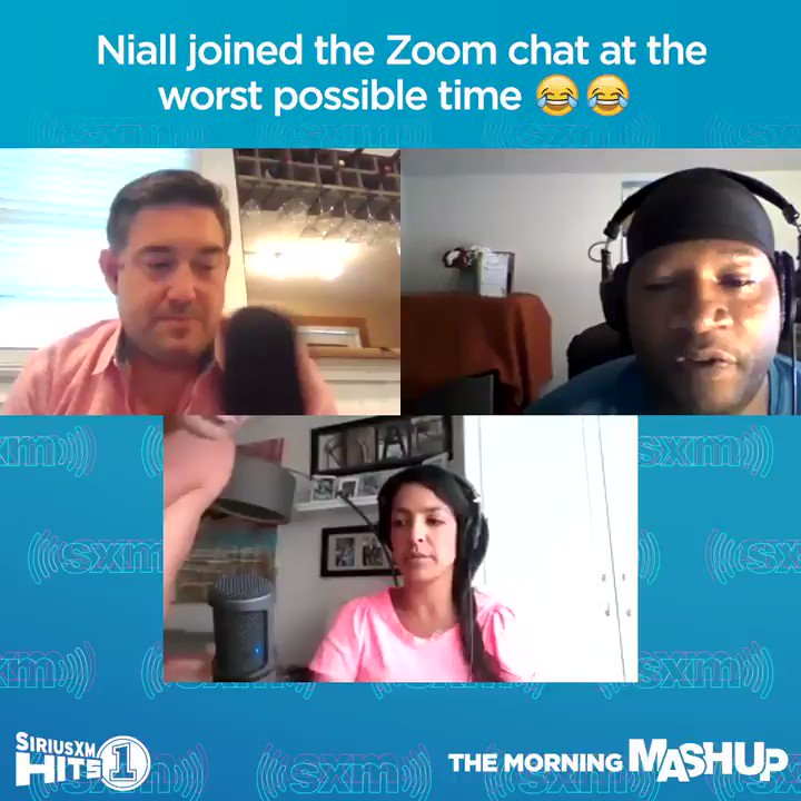 Poor @NiallOfficial got more than he bargained for when he joined our Zoom chat this morning! 😂😂