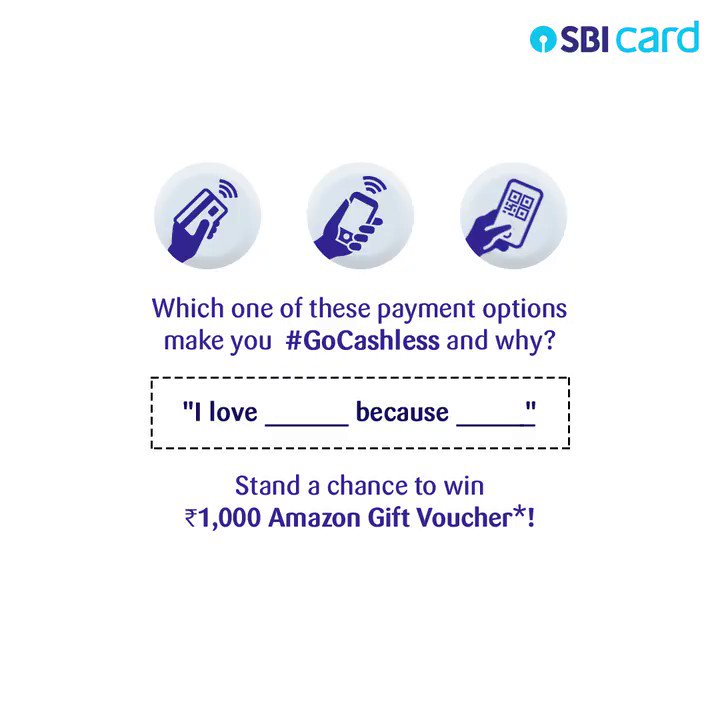 """Have you switched to contactless payments yet?  Out of 'Tap My Card', 'SBI Card Pay' or 'Scan to Pay' which one do you #GoCashless with and why? Comment your answer below in the format """"I love__ because__"""" & win a chance to get an Amazon Gift Voucher worth ₹1000! #ContestAlert https://t.co/EQ1peGor9d"""
