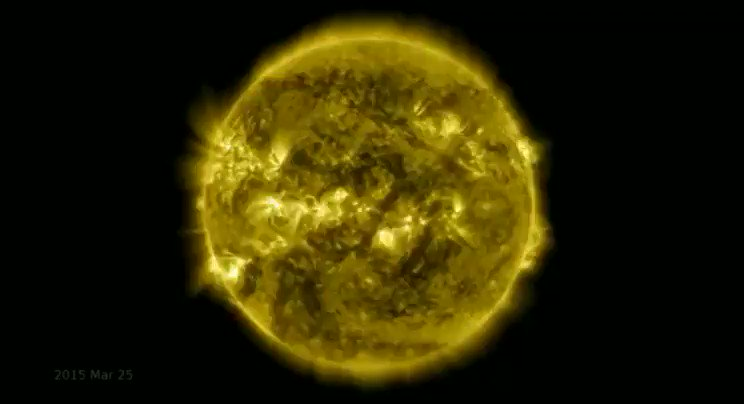 10-year time lapse of sun's rotation, courtesy of NASA. Pretty extraordinary.