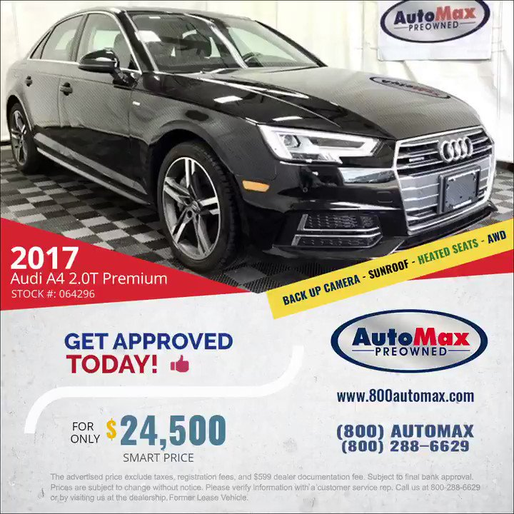 GREAT DEAL   2017 Audi A4 2.0T Quattro AWD with only 42k miles.  Call Us Today: 800-288-6629  Vehicle info: https://bit.ly/2D1g9Cz #audia4 #usedaudia4forsale #usedcarsforsale #bostoncarspic.twitter.com/d0W9FFSuY4