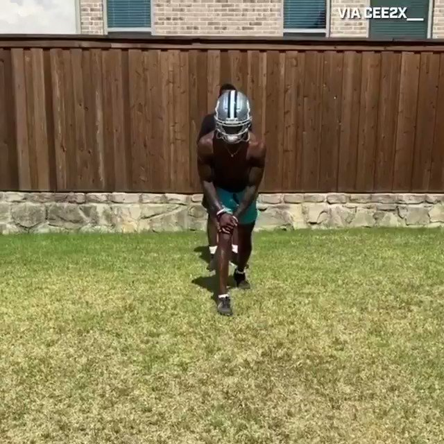 .@_CeeDeeThree putting in work in the @dallascowboys helmet 🤩 (via @thecheckdown) https://t.co/P0q5bsTpms