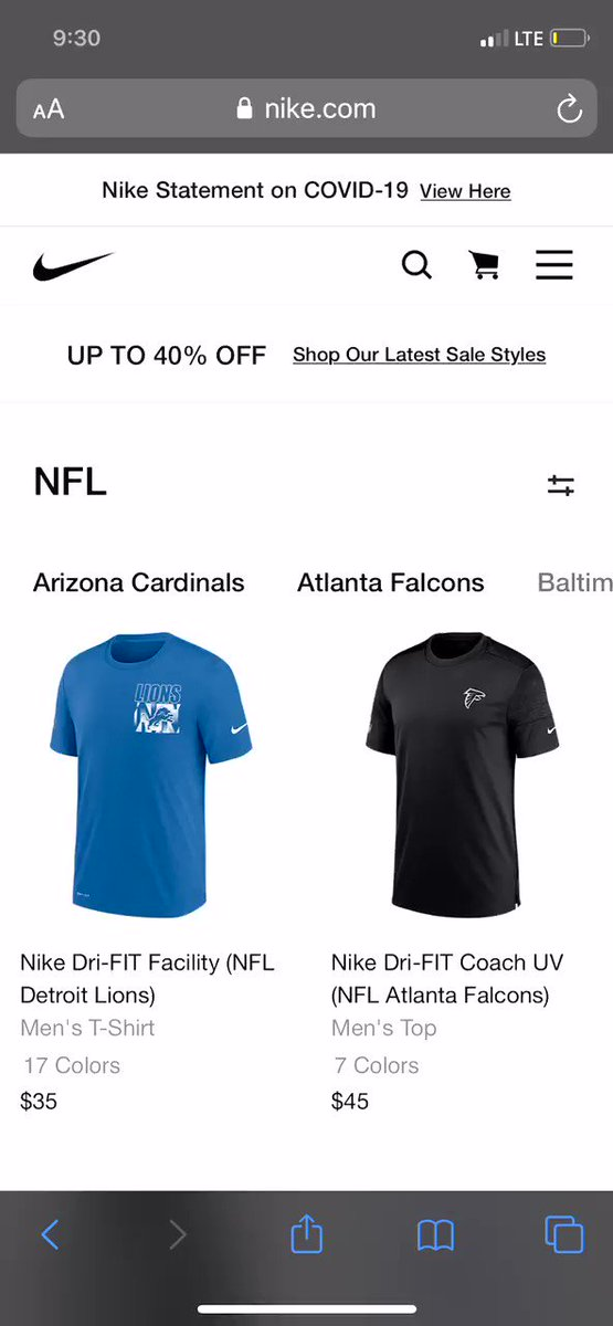 On Nike's NFL site, all the NFL teams are listed besides the Redskins.