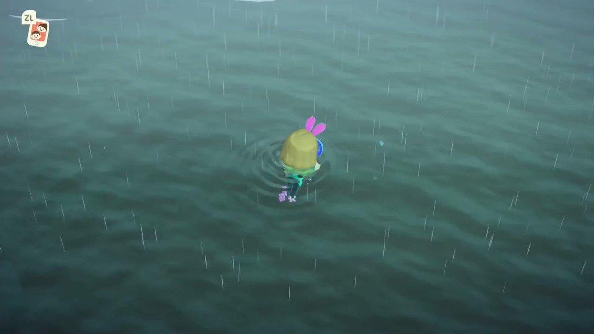 【海の幸を捕まえる方法】1.「A」で早く前進(水かき)2.泡のブクブクを見つける3.「Y」でブクブクに向かって潜る慣れるまでちょっと難しいですが、泡に向かって「Y」で何度も潜ってみてください🥰