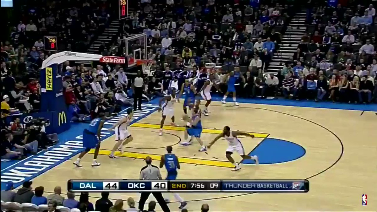 December 27, 2010 vs DAL  A Serge Ibaka swat leads to a James Harden slam.  #ThunderUp https://t.co/o1nqHiW7JH