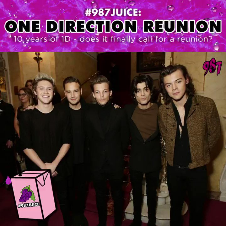 Were counting down till 23 July (aka @onedirections 10 year anni). @LiamPayne just made fans speculate about a reunion with his TikTok upload of him video calling @Harry_Styles. Since the 2016 hiatus, Directioners have been hopeful for a reunion. Fingers crossed! #987JUICE