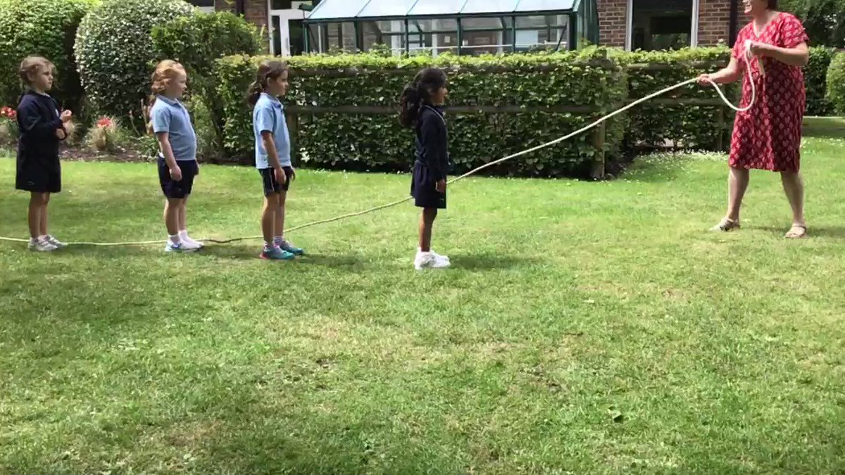 Lunchtime skipping with Year 2 girls! #HappyandHealthy is one of our school's seven values and we make the most of the outside space. Girls are skipping here in the Summer Garden.  #manorhouseschool #bookham #girlsschoolsurrey #PrepSchoolSurrey