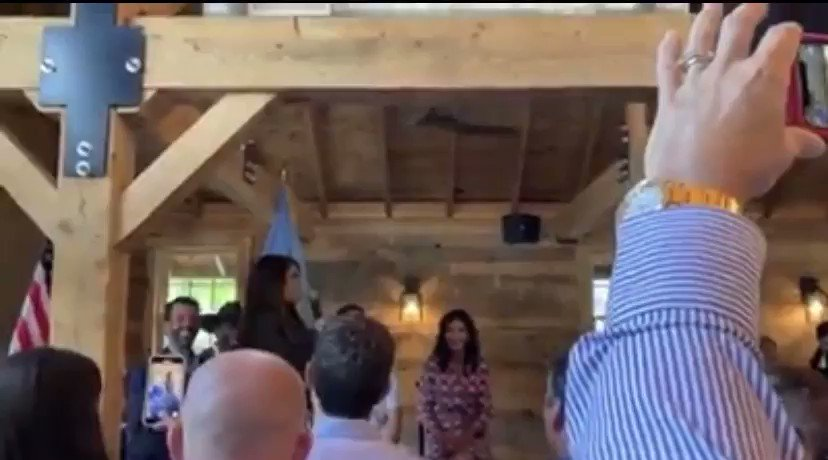 Here's Kim Guilfoyle speaking at an indoor event in South Dakota, no masks in sight, that was also attended by Kristi Noem the day before it was announced Guilfoyle tested positive for Covid (video from Facebook)
