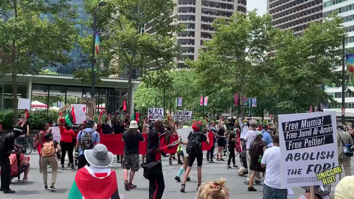 Large protest getting underway in Philadelphia, PA currently, at the site of the recently removed statue of former white supremacist Police Commisioner and Mayor Frank Rizzo
