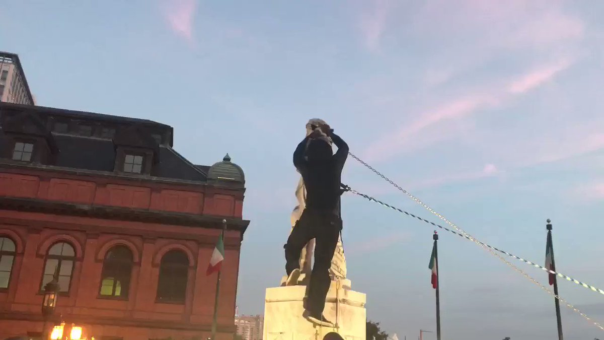 "Funded #mob (the thugs in hoodies and face coverings) pulling down #ChristopherColumbus statue. #Democrats signaling the ""new"" America they envision. There are some neighborhoods in RI where this would be ill-advised."