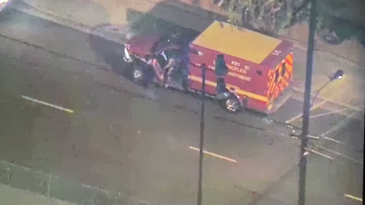 Stolen ambulance driver just bailed and ran into an apartment complex. @NBCLA