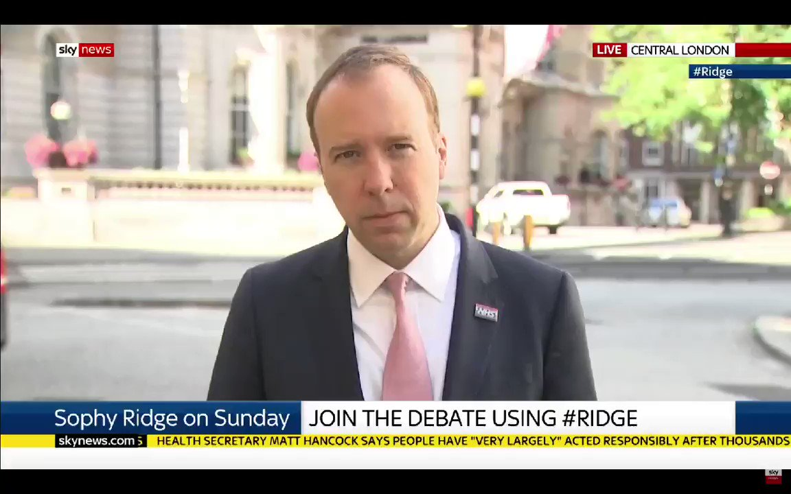 #Ridge - Rather than a few minutes clapping... What about a pay rise for the lowest paid in the #NHS? Matt Hancock - Waffle... Waffle... Waffle... #Ridge - No news there on a forthcoming pay rise. #Marr #NHS72