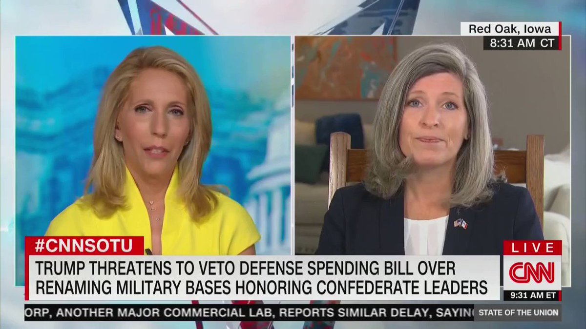 """CNN's Dana Bash: You said in 2014 that Obama showed """"failed leadership"""" with Ebola, when only 2 Americans died. Would you say Trump's showed failed leadership with coronavirus as 130,000 Americans have died?  Sen. Joni Ernst: """"No, I think that the president is stepping forward"""""""