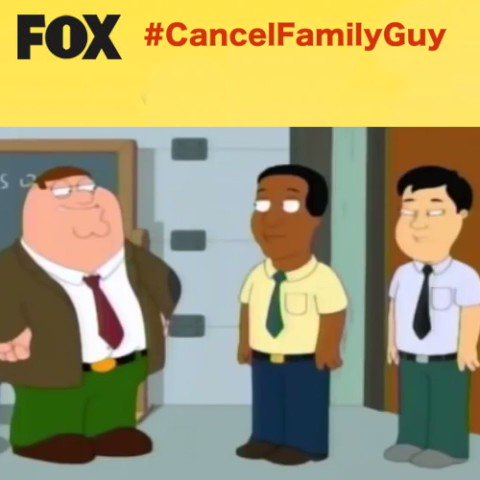 Fox needs to cancel Family Guy or at the very least, remove any and all racially insensitive episodes from Hulu that serve no other purpose but to stoke the fires of division through racism. #CancelFamilyGuy @Fox @Hulu @hulu_support @SethMacFarlane @20thcentury https://t.co/MuKRfjkN9K