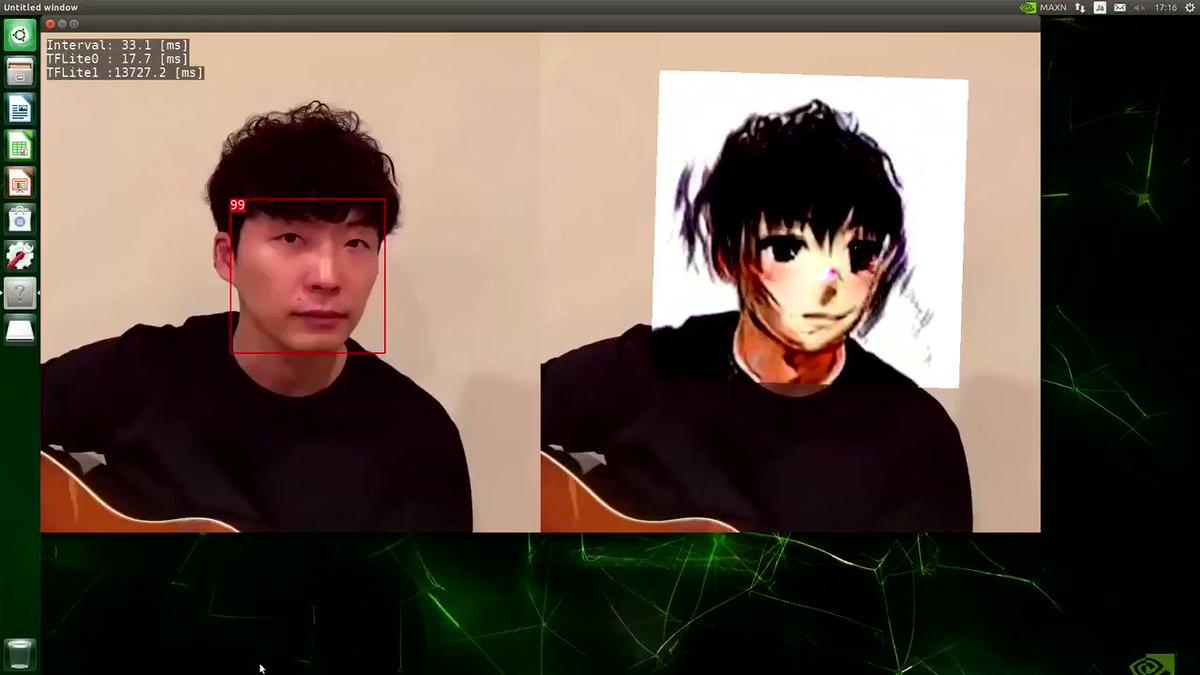 顔画像をアニメ調変換する「selfie2anime」の TFLite 実装があったので、JetsonNano で動かしてみた。さすがに重い。。。1コマ10秒。(添付動画は早回しです)何か高速化テクニックないかな。